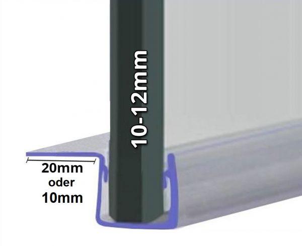 Schiebetürdichtung mit 90° Lippe für 10mm-12mm Glasstärke