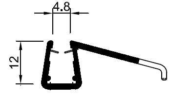Muster von Wasserabweisprofil für 8 mm Glas