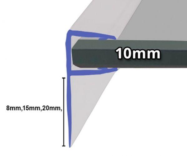 Muster von Duschdichtung mit 90° Lippe für 10mm Glasstärke, mit 8mm,15mm, oder 20mm Lippe