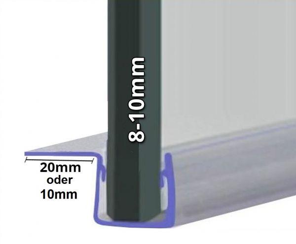 Musterprofil von Duschdichtung mit 90° Lippe für 8mm-10mm Glasstärke