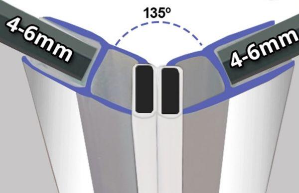 Magnetprofile Chrom Effekt 135° Paarweise verkauft