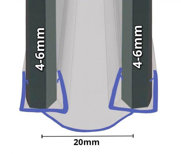 Badewannenaufsatz Falttüre Dichtung 4mm-6mm