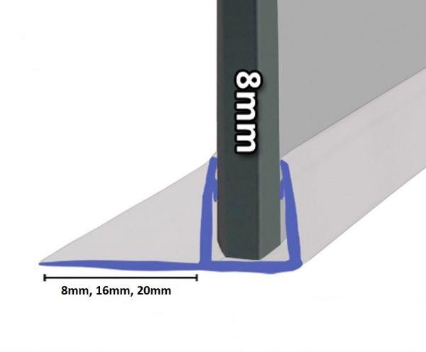 Schiebetürdichtung mit 90° Lippe für 8mm Glasstärke.