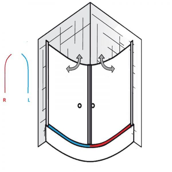 Gebogene Duschdichtung mit Balg für gerade Türen mit gebogenes Glas, wird paarweise verkauft
