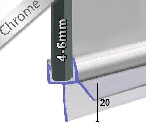 Wasserabweisprofil in Chrom mit 20mm Lippe - 1m