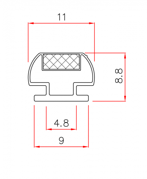 Einschubdichtung mit 9mm T-Breite 2m Lang