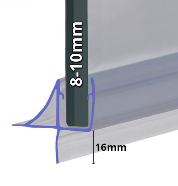 Stabilisierte Wasserabweiser 1000mm Länge für 10mm Glasstärke