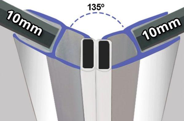 Magnetprofile Chrom 135° Paarweise verkauft - 10mm