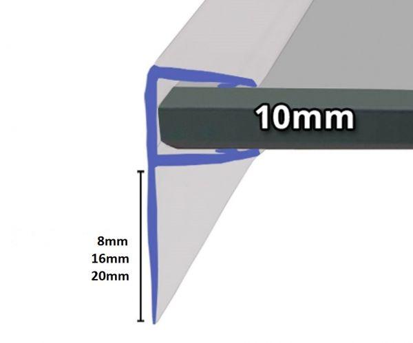 Schiebetürdichtung mit 90° Lippe für 10mm Glasstärke.