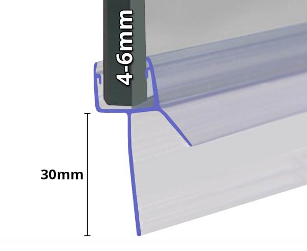 Wasserabweiser mit Extra Langen 30mm Lippe, 1000mm Länge, 4-6mm Glasstärke