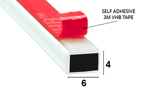Magnetdichtung zum Aufkleben 2000mm Lang, wird paarweise verkauft