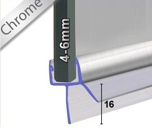 Wasserabweisprofil Chrom mit 16mm Lippe - 1m