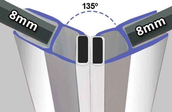 Magnetprofile Chrom 135° wird paarweise verkauft - 8mm