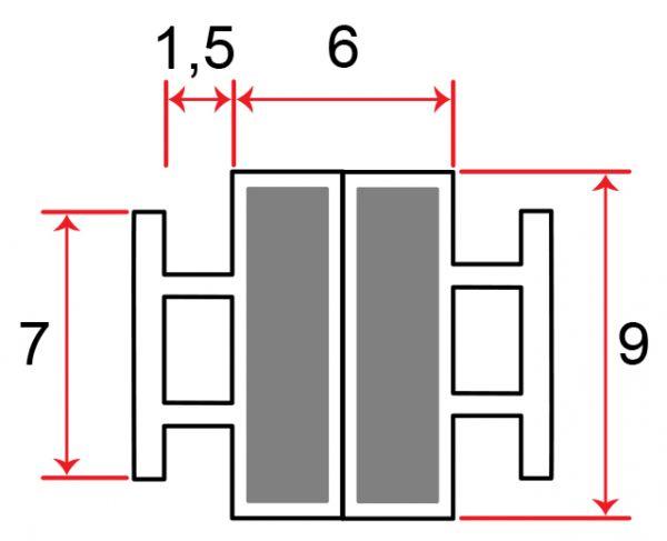 Muster von Einschubdichtung 7mm T-breite