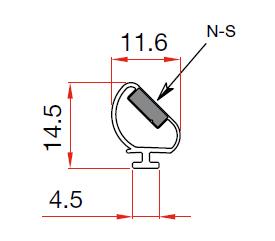 Muster von Magnetdichtung zum Einschieben 90°