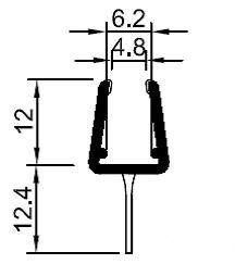 Pendeltürprofil mit zentralgerade Lippe