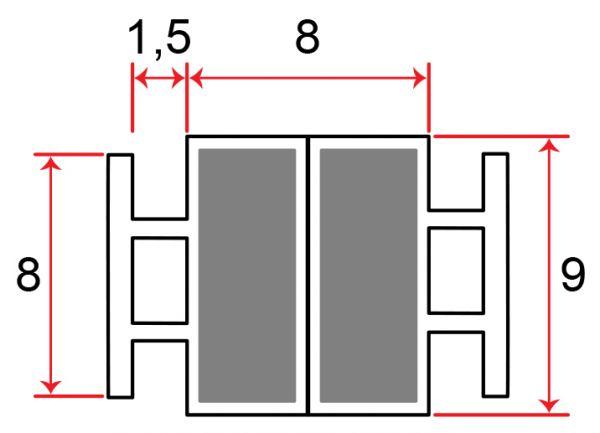 Muster von Einschubdichtung mit 8mm T-breite