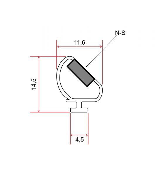 Magnetdichtung zum Einschieben 90° (2x45°) 2m Lang, Weiß, Im Set verkauft 1xL 1xR