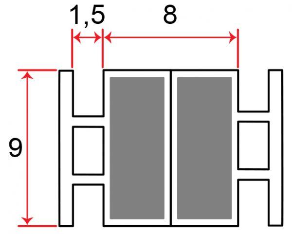 Muster von Einschubdichtung 8mm T-breite