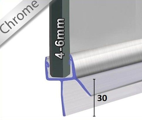 Wasserabweisprofil Chrom mit Lange Lippe 30mm - 1000mm Lang