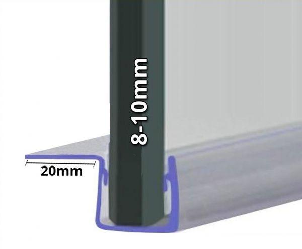 Duschdichtung mit 90° Lippe für 8mm-10mm Glasstärke
