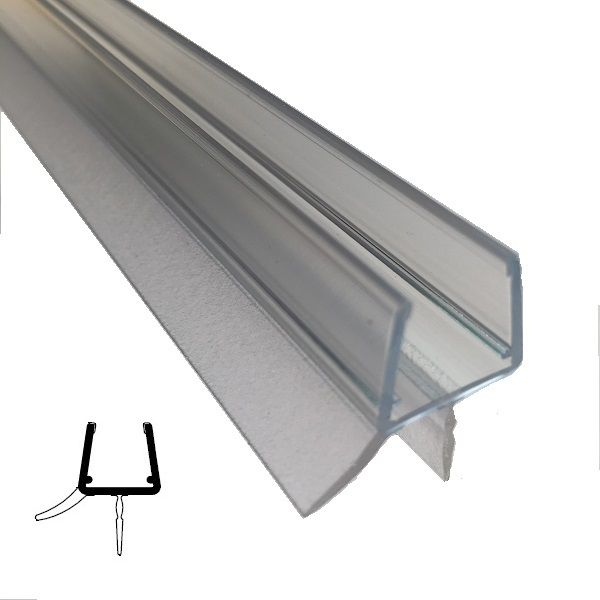 Wasserabweisprofil mit Lippe, 10/12 mm Glas