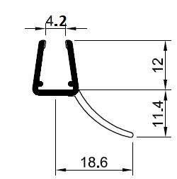 Muster von Mitteldichtprofil für Falttüren 5mm Glasstärke 2000mm Länge