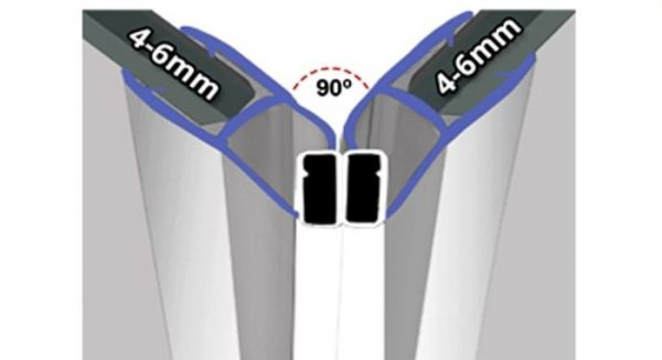 Magnetprofile Chrom Effekt 90° Paarweise verkauft