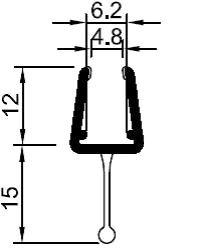 Pendeltürprofil mit zentralgerade Lippe und mit Nudel.