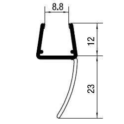 Mitteldichtprofil lange Lippe, für 10 & 12 mm Glas