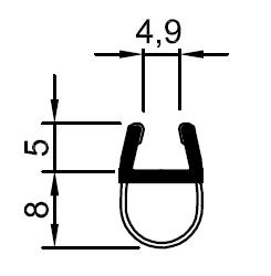 Muster von Balgdichtung mit kurzer Glaseinstand für 6mm Glasstärke