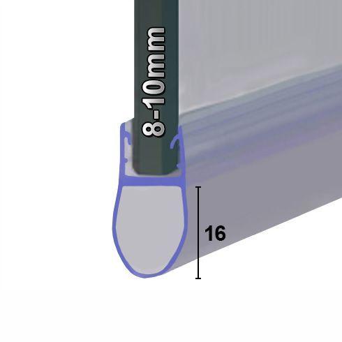 Muster von Streifdichtung oder Balgdichtung 8-10mm Glas mit 16mm Balg.