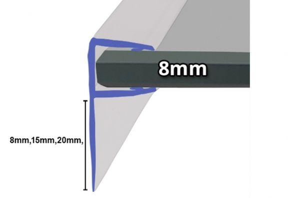 Muster von Duschdichtung mit 90° Lippe für 8mm Glasstärke,