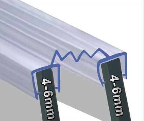 Bi-Fold - Falttüren Dichtung in 2000mm Längen 4-6mm Glasstärke